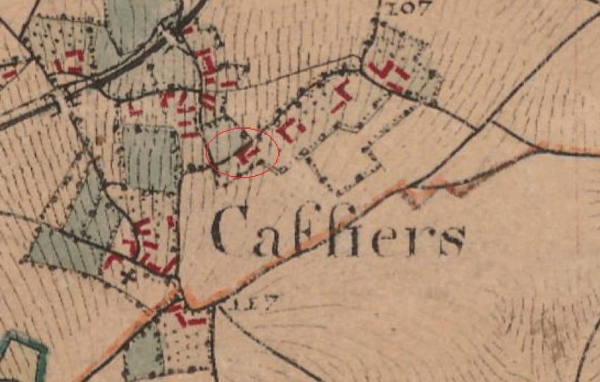carte d'État Major de 1820, laissant apparaître le Clos de l'Angley